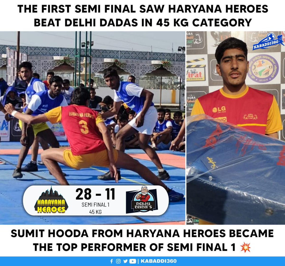 Haryana Heroes became the first team to qualify for 45 kg final 🔥 Watch it LIVE on YouTube 📱  #AgraKabaddiLeague #KabaddiResults #Kabaddi360