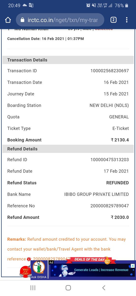 @goibibo  ? Are you making me fool..i want my refund, dont cheat!! @IRCTCofficial  refunded you And does anyone know how contact their manual customer executive??? They making us fool by their AI assitant