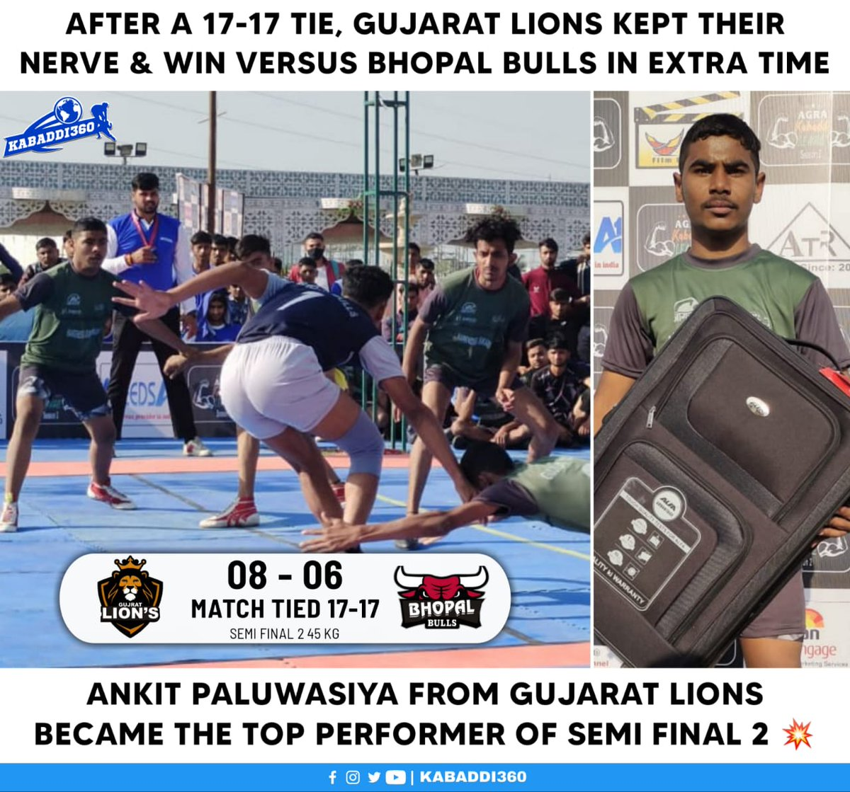 It's Haryana Heroes vs. Gujarat Lions in the Final of 45 kg weight category 😍 Who are you with?  #AgraKabaddiLeague #KabaddiResults #Kabaddi360