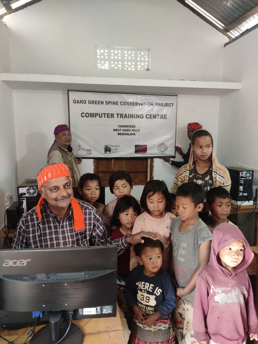 So happy to inaugurate a computer training room for kids and youth at Chandigre, West Garo Hills, #Meghalaya. This village has like many others helped @wti_org_india & @worldlandtrust put aside more than 8000 ha of forest land. More power to them