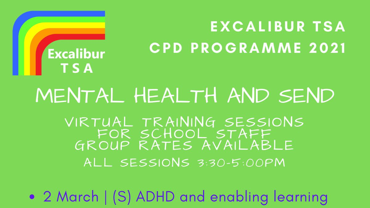 What is really going on for young people with ADHD? What can we do to enable them to make academic and social progress?  Our next virtual CPD is 15:30-17:00 on 2 March with Rowdeford's Emma Rossiter - for all staff in educational settings. More here: https://t.co/AXBYZK8REa