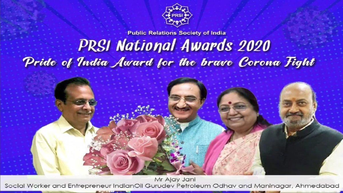 Proud of Mr. Ajay Jani, Proprietor, Gurudev Petroleum on receiving PRSI Pride of India award from @babyranimaurya, Hon'ble Guv, Uttarakhand & @DrRPNishank, Minister, @EduMinOfIndia; Mr. Jani continues to provide discount on fuel purchase to #CoronaWarriors #ProudToBeAnIOCian