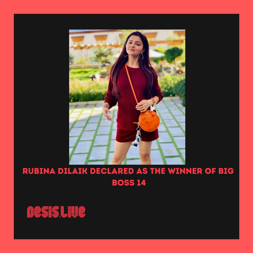 Rubina Dilaik declared as the WINNER of Bigg Boss 14  Rubina Dilaik declared as the WINNER of Bigg Boss 14 @rubinadilaik #bb14 #bigboss14 https://t.co/rJOKu0TnO4