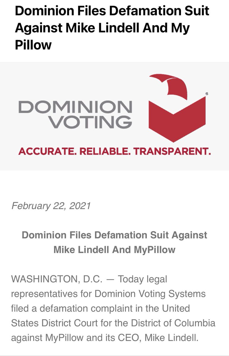 """Lawyers for Dominion Voting systems say they've filed a defamation charge against MyPillow CEO Mike Lindell in DC federal court, writing """"Mr. Lindell advertised 'absolute proof,' but he delivered absolute nonsense and fake documents sourced from the dark corners of the internet."""""""