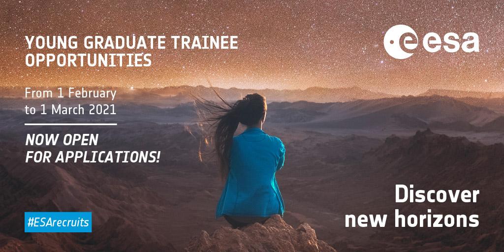 Avis aux jeunes/futurs diplômés: il vous reste jusquau 1er mars pour postuler à nos offres de stage Young Graduate Trainee 👇 esa.int/Space_in_Membe… Vous hésitez toujours ? Lisez ou relisez cet entretien avec @Corentin_Buti, #YGT à lESTEC en 2020 👇 esa.int/Space_in_Membe…