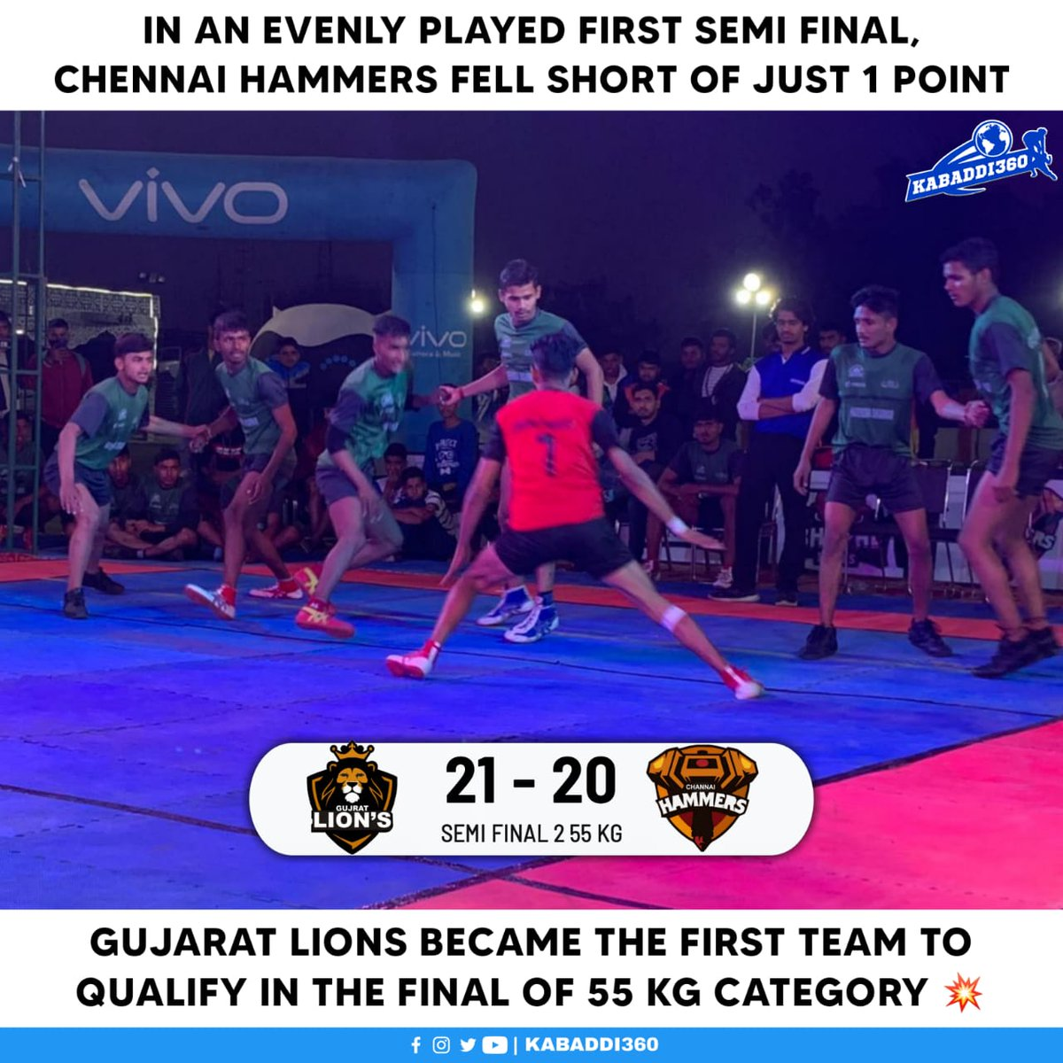 Gujarat Lions have now qualified for both finals of 45 & 55 kg category 🥳 Watch AKL on Kabaddi360 YouTube 📱    #AgraKabaddiLeague #Kabaddi360 #KabaddiResults