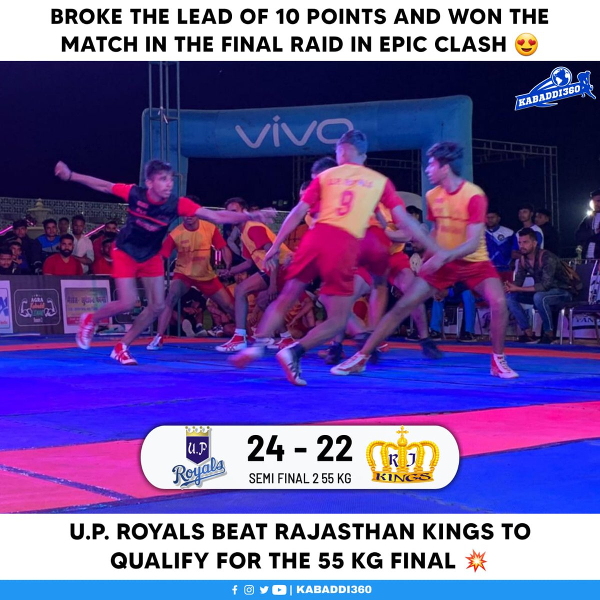 U.P. Royals will now meet Gujarat Lions in the final of 55 kg category 🎉 Watch AKL on Kabaddi360 YouTube    #AgraKabaddiLeague #KabaddiResults #Kabaddi360