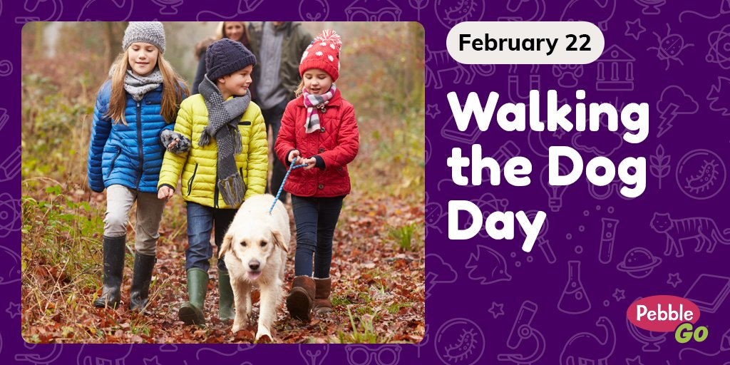 Take your four-legged pal outside today for #NationalWalkingTheDogDay! Love dogs just as much as we do? Learn about multiple dog breeds on #PebbleGo! Find more fun February holidays with the PebbleGo calendar: