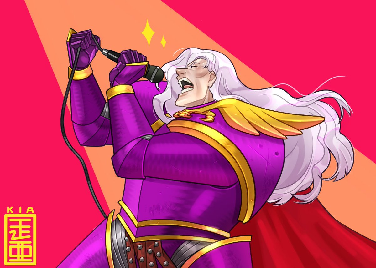 Cartoon image of Fulgrim in purple armour, singing into a microphone