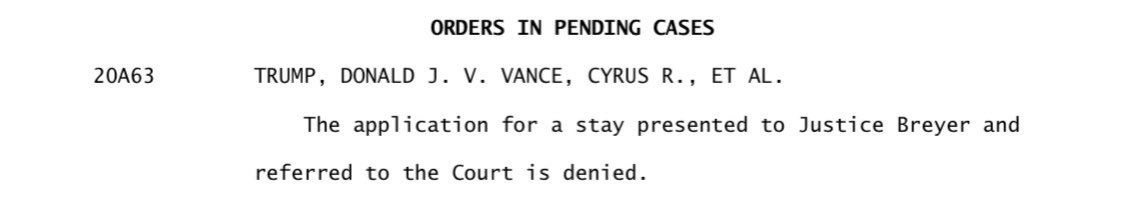 Replying to @chrisgeidner: Breaking: #SCOTUS won't stop the Manhattan DA's office from getting Trump's taxes.