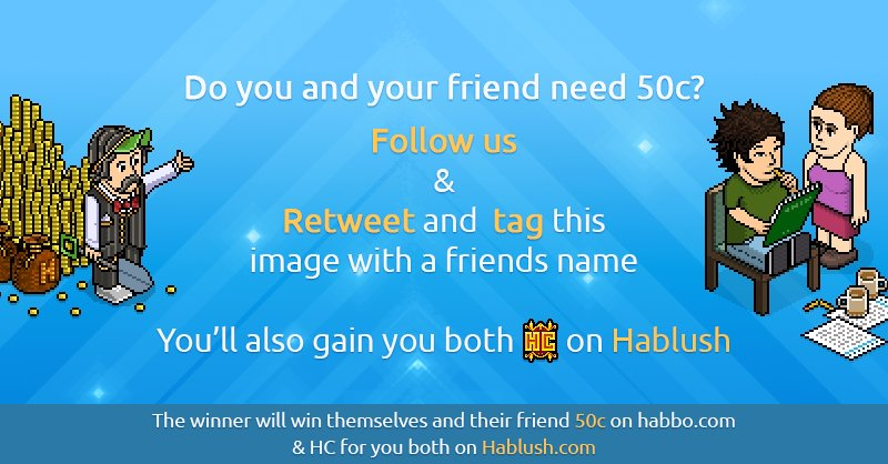 🥳 Twitter Competition 🥳  🤩 WIN: 🌟 50 Habbo Credits 🌟 1 month of Hablush Club  👉 STEPS: 👆 Follow @hablushltd ✌ Retweet & tag a friend  Ends when we announce our Open BETA - Phase 1 👀  Good luck everyone! 🤪  #Habbo #NotMyHabbo #Habbo2020 #SaveHabbo #Habbo2021