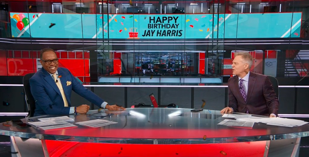 Happy birthday today to @JayHarrisESPN. The 18-year ESPN anchor gets a nice bday surprise from @DavidLloydESPN and crew to close out SportsCenter AM.