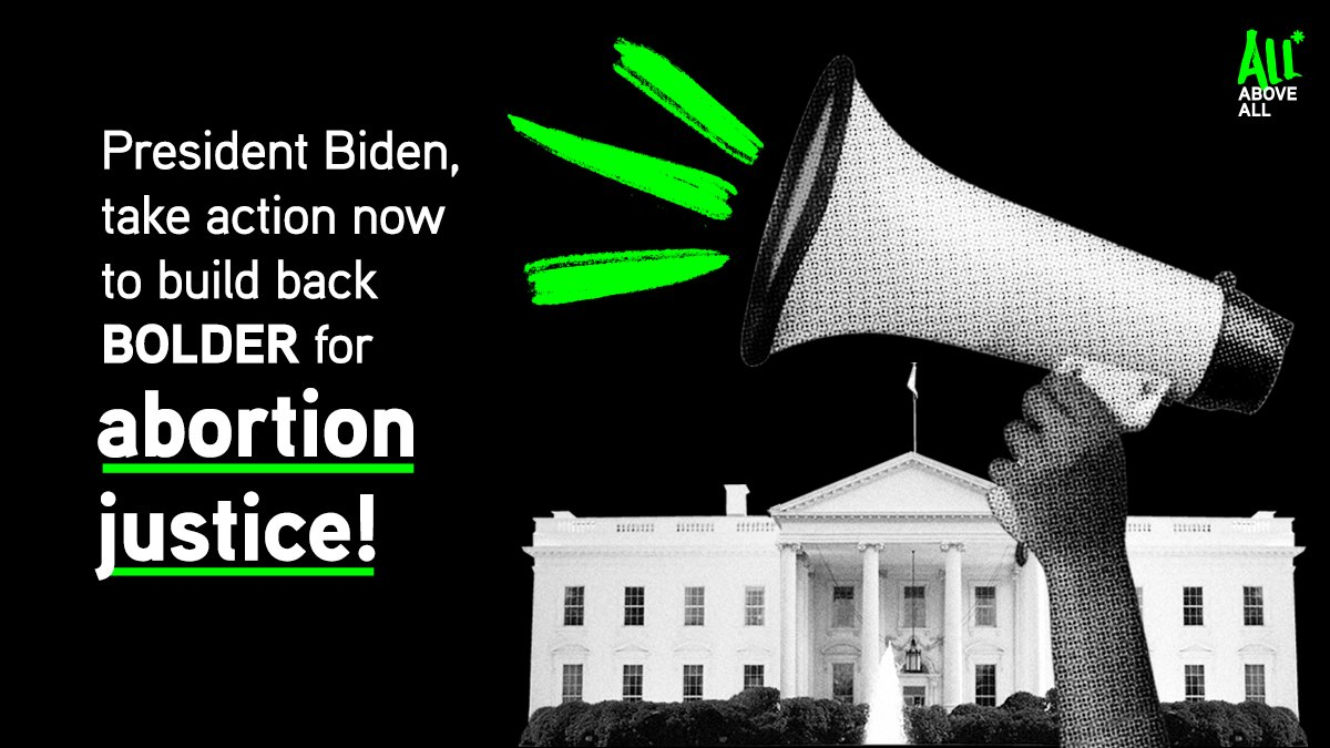 The status quo on abortion access is not enough for us to get to true #AbortionJustice. Today, we're writing to @POTUS to build back BOLDER by:  🙌Intro'ing a budget without Hyde 🙌Lifting restrictions on medication abortion care