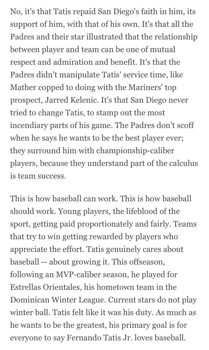 I was struck today by Fernando Tatis Jr. and A.J. Preller's relationship. The Padres didn't manipulate Tatis's service time. They let him be himself. This may sound shocking, but teams are capable of treating players well. From my Tatis essay at ESPN+: