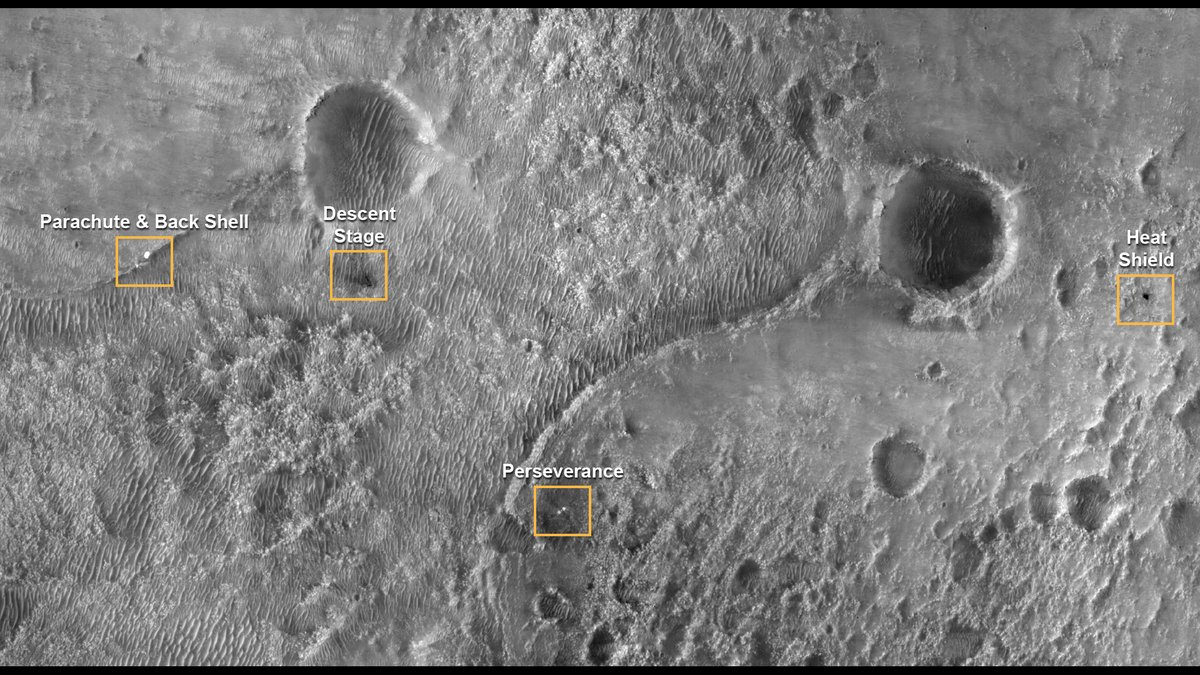 Scan this image for the various pieces of my landing system, which did their jobs perfectly before coming to rest on Mars. Teams of experts poured years of work into each one. My safe landing is what tells you they nailed it.  https://t.co/g1QIh0xIqZ 📷: @HiRISE #CountdownToMars https://t.co/2QoFWhKXQr