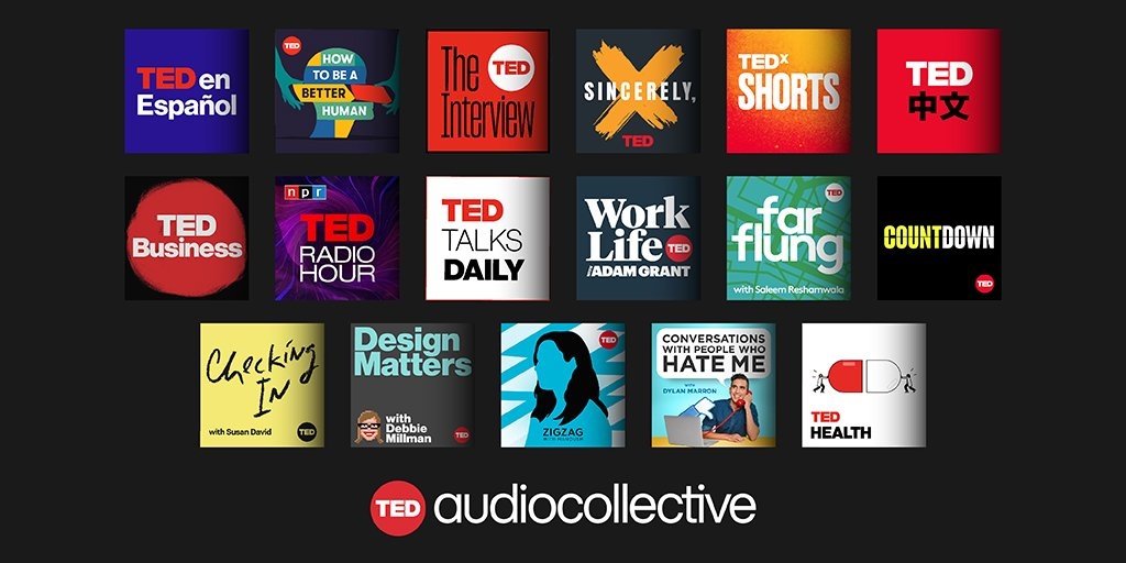 Introducing the TED Audio Collective! 🎧  Explore a collection of podcasts created for the curious learner in all of us. Whether you want to work smarter, think deeper, or dream bigger, we have the perfect show for you.   Listen to our #TEDpods here: https://t.co/RfoEVj2Mzg https://t.co/iCmZVtGBRr