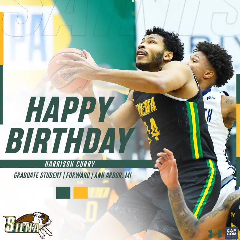 🎉🎂 #SienaSaints fans please join us in wishing a #HappyBirthday to @HCurry_24❗️ Have a great day, Harrison❗️ #MarchOn   #Attack   #Finish   #EAT