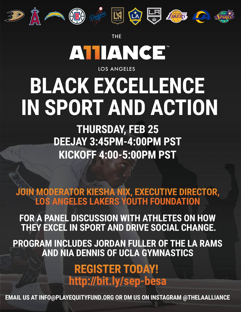 ‼️ Middle school and high school student-athletes ‼️   Join @RamsNFL safety @j_fuller4 and @TheAlliance for a Black History Month panel discussion on excelling in sports and driving social change this Thursday, February 25th.   Register: