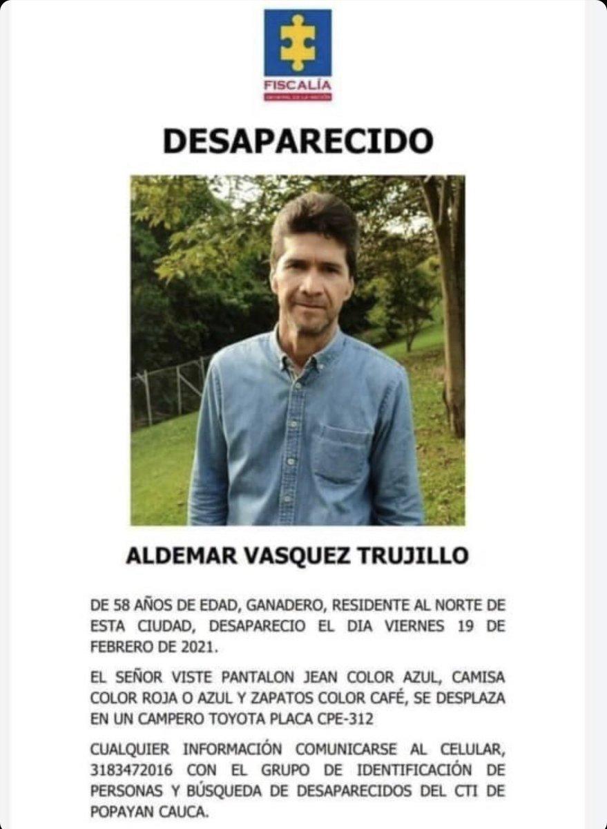 El papá de un gran amigo mío está desaparecido en Popayán, Cauca ⚠️  Aquí les dejo la información ℹ️   Si pueden difundirlo les agradezco 🙏🏻 https://t.co/io065GO10T