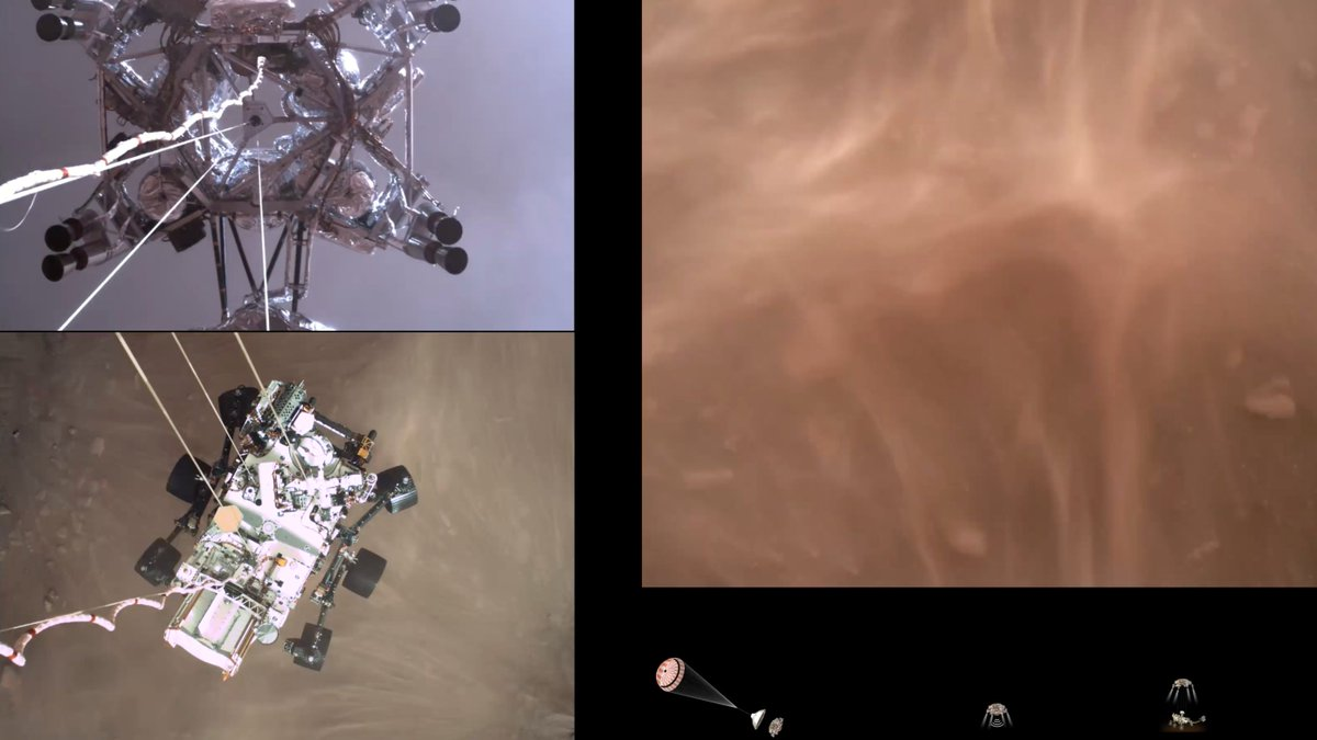 JUST, WOW.😍 Grab the popcorn because the @NASAPersevere rover has sent us a one-of-kind video of her Mars landing. For the first time in history, we can see multiple angles of what it looks like to touch down on the Red Planet. #CountdownToMars
