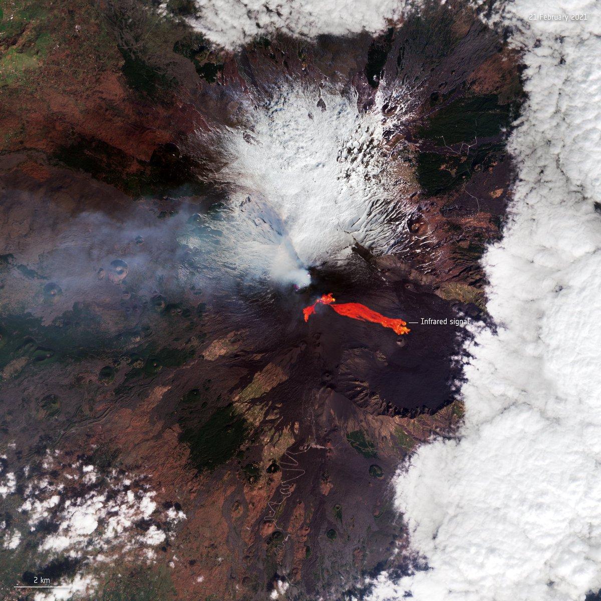 @CopernicusEU Nouvelle image de l#Etna 🌋 en éruption, prise par le satellite @CopernicusEU #Sentinel2 le 21 février 2021. (📷: contient des données Copernicus Sentinel modifiées [2021], traitées par lESA, CC BY-SA 3.0 IGO)