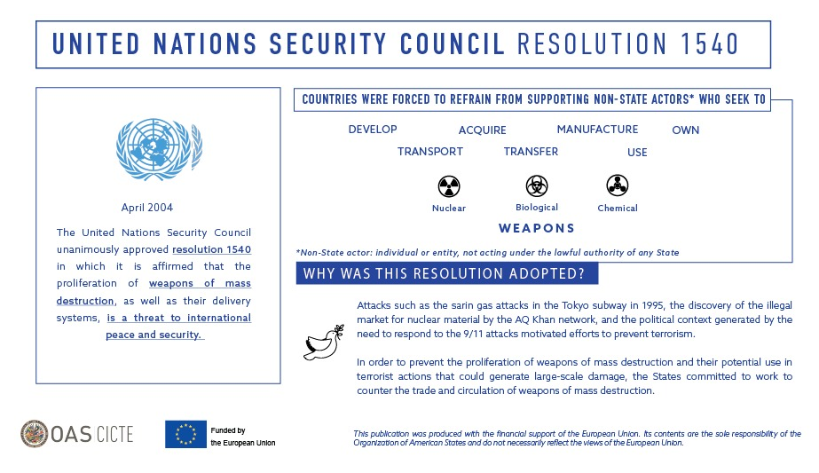 .@OEA_CICTE works for the implementation of #Resolution1540 of the United Nations Security Council in the region. Learn more about this resolution created to prevent the proliferation of weapons of mass destruction.