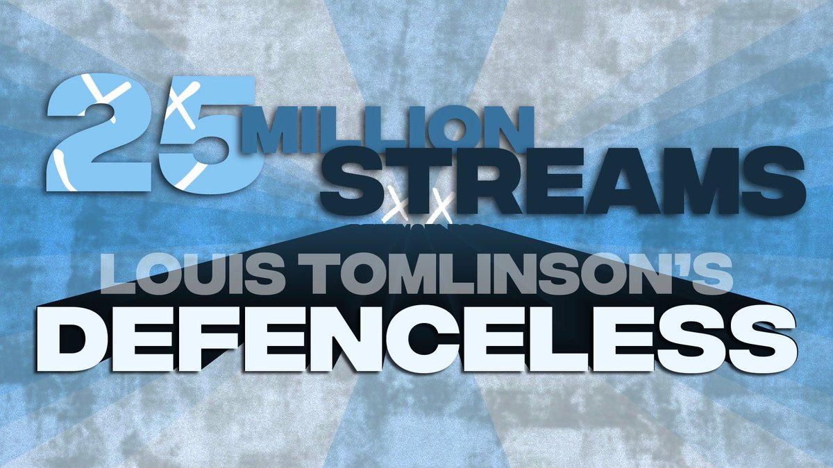 📈| Defenceless by @Louis_Tomlinson has hit 25 MILLION streams on Spotify!