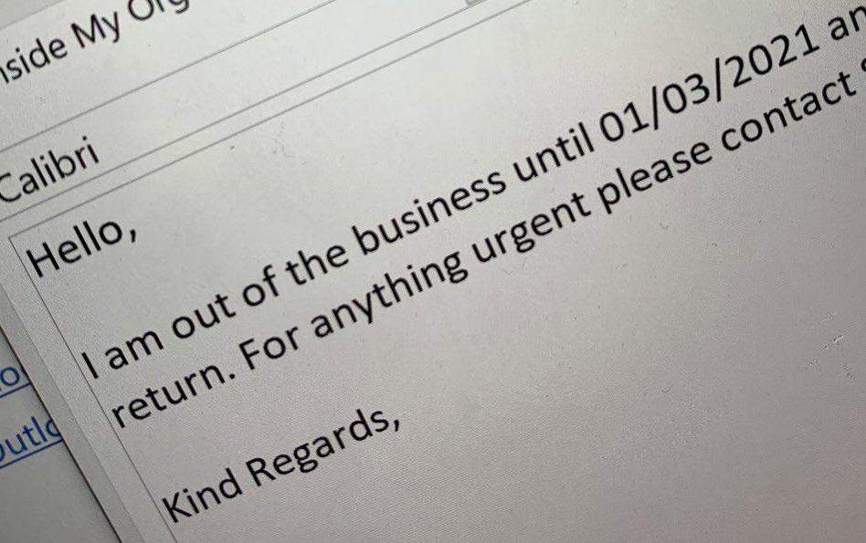Kind Regards, motherfuckers! #OutOfOffice