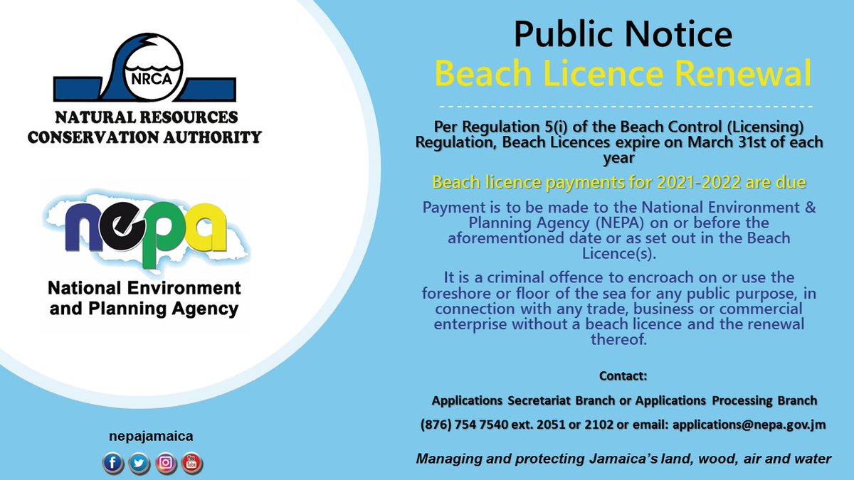 PUBLIC NOTICE: Beach licence payments for 2021-2022 are due. Contact the National Environment and Planning Agency for more information. #NEPAandYou #beach #licence @tpdcoja