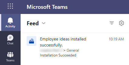 Activity feed notification when employee ideas installed successfully.