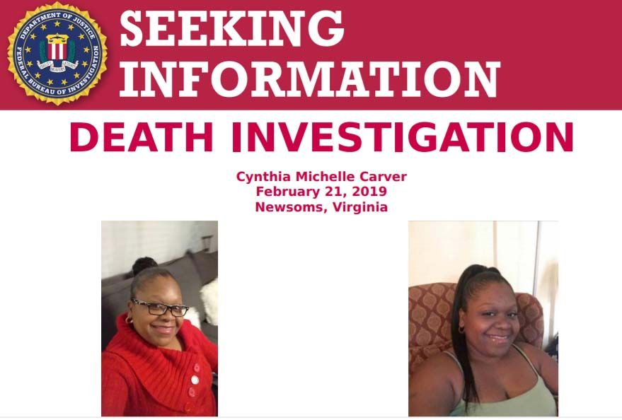 The #FBI offers a reward of up to $5,000 for info leading to the arrest, prosecution, & conviction of those responsible for the death of Cynthia Carver. She was reported missing on Feb 22, 2019. Her body was recovered on March 19, 2019, in Suffolk, VA: fbi.gov/wanted/seeking…