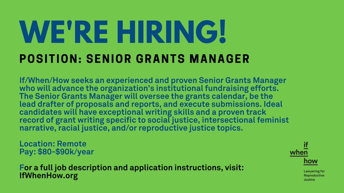 Calling all development dynamos and fundraising phenoms!  We're looking to grow our (remote!) team and hire a Senior Grants Manager who can bring their skills and experience to help us advance our fundraising efforts!  Learn more and apply today: