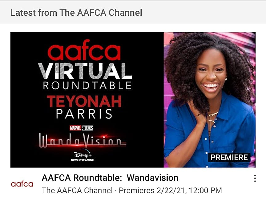Yo! @theaafca has the ever-talented @teyonahparris in the hot seat today! 🙌🏿✨🙌🏿✨🙌🏿 😍 This interview is a must watch as we talk with the @wandavision super-star!   #AAFCA #wandavision #teyonahparris #actress #blacktwitter #BlackGirlMagic #casting #MCU #DisneyPlus #womeninfilm