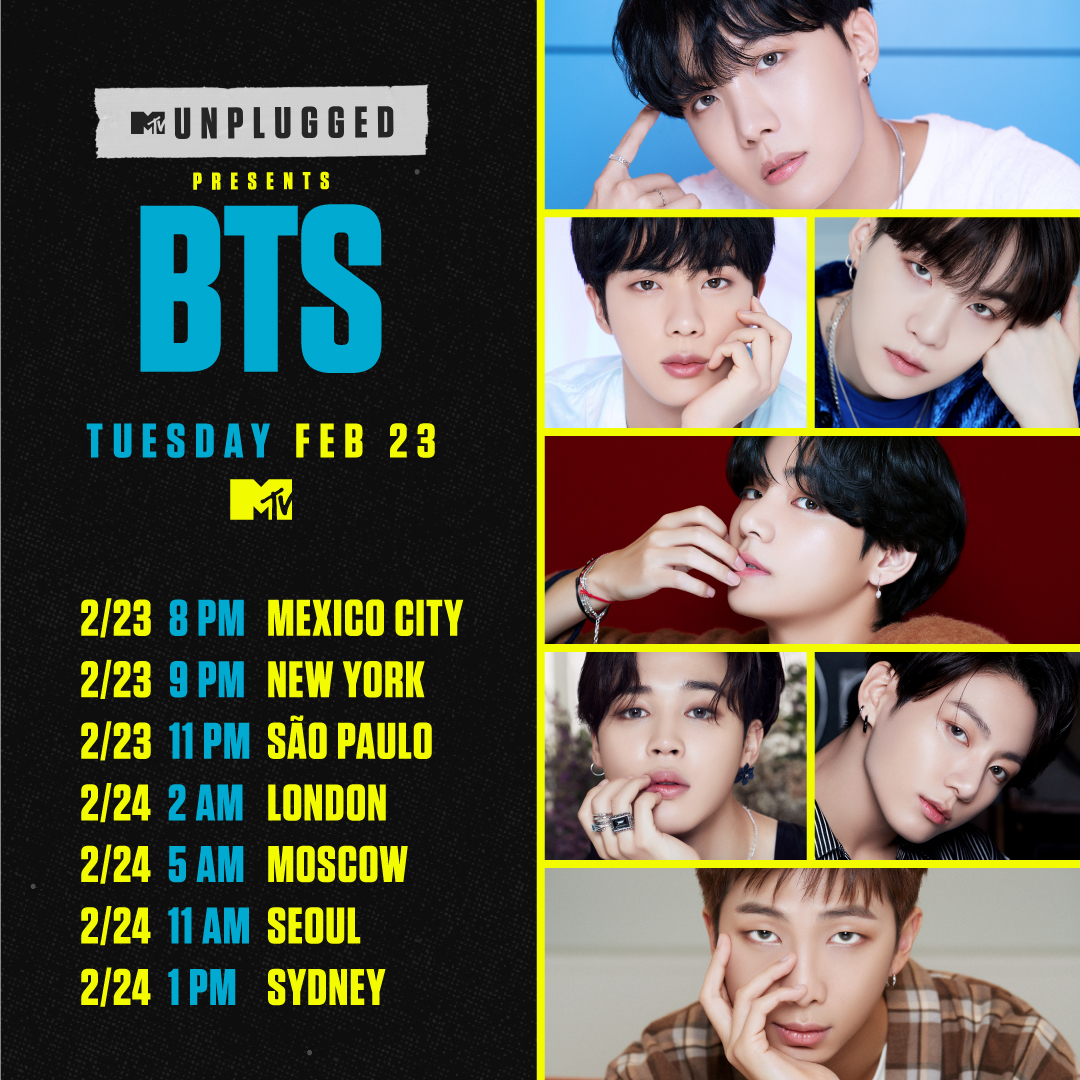 💜 TONIGHT 💜 @BTS_twt is taking over with their #MTVUnplugged performance!   Check your timezone to see when you can watch #BTSonMTV! 👀👇