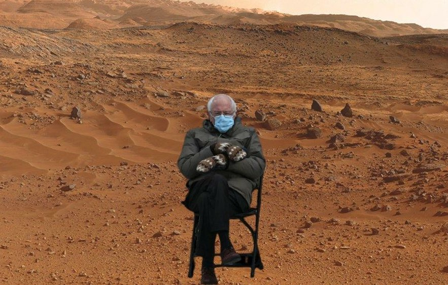 Newest pics from Mars Preserverance.... Bernie is on Mars!