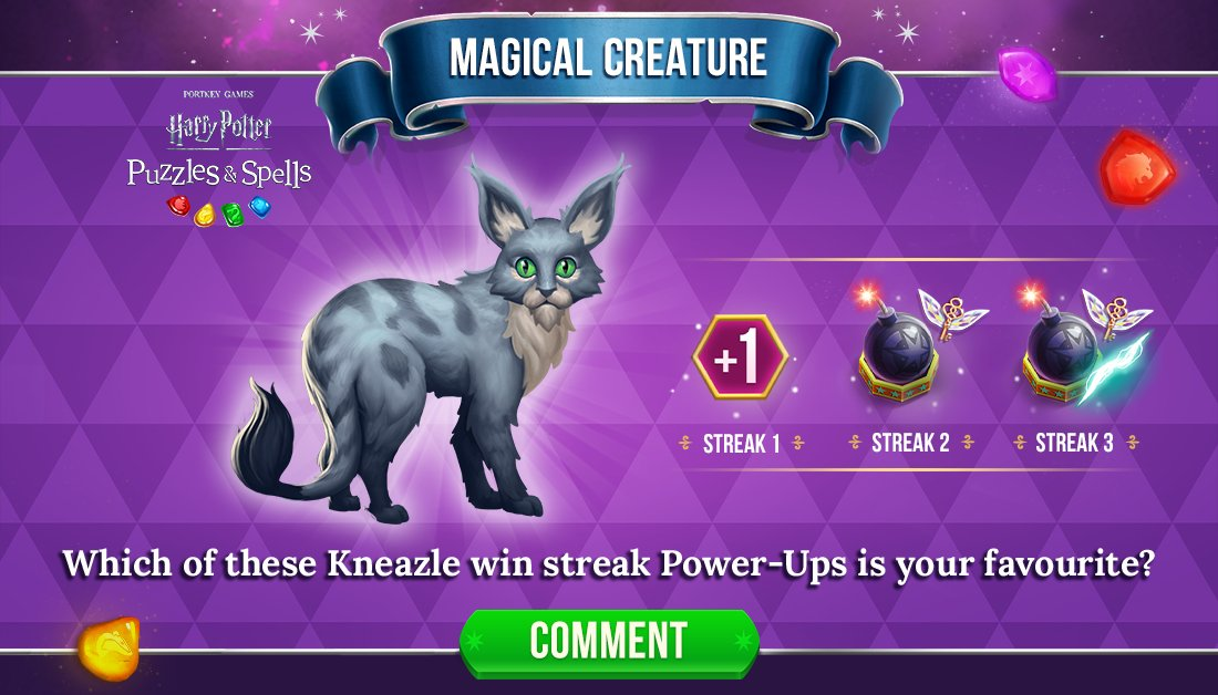 Bombastic Bomb, Winged Key and an extra move are part of Kneazle's win streaks. Comment below with your favourite!  Complete consecutive puzzles to earn a win streak NOW ➡️  #HarryPotter #PuzzlesAndSpells #Kneazle #MagicalMarvels