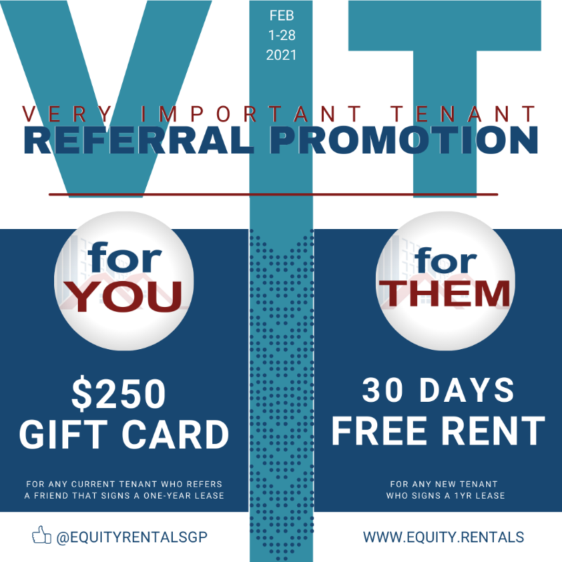 𝗕𝗲 𝗼𝘂𝗿 𝗩.𝗜.𝗧 (Very Important Tenant) and earn a $250 gift card. All you have to do is refer a friend who signs a one-year lease. And they will get a free 30 days of rent! WIN-WIN! Visit our website for details:  #promotion #referafriend #freerent