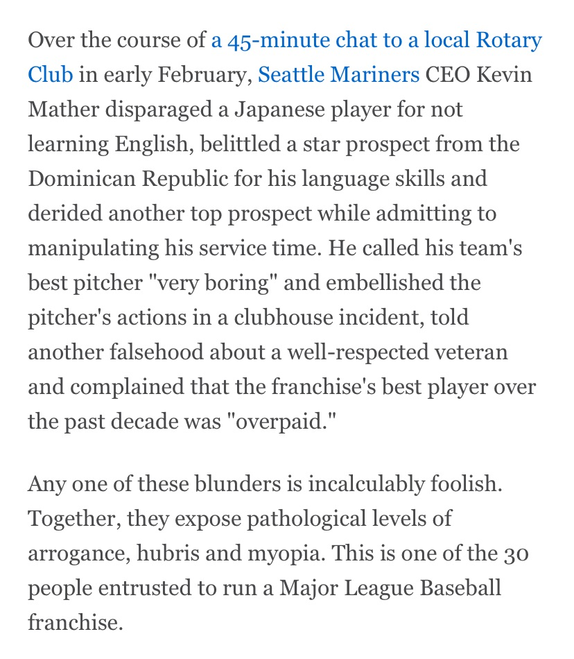 The shame of Kevin Mather's assessment of the Seattle Mariners team he runs isn't that he said it out loud. It's that he believes everything he said — the bigotry, the falsehoods, the mistreatment, the insults.   Column, free for all to read at ESPN: