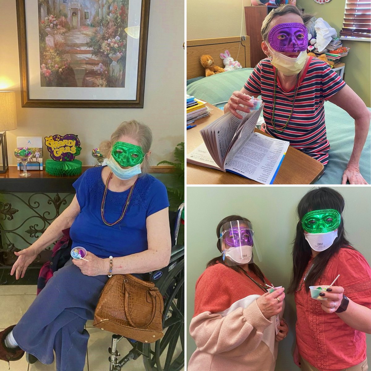 We celebrated #MardiGras at #AzriaHealthOlathe! Even though it was unusually cold, we were warm with the best company. We all ate and felt full of life! We celebrated with chocolates and beads; it was so much fun!   #AzriaHealth #Celebrate #FatTuesday #Fun #Beads #Chocolate