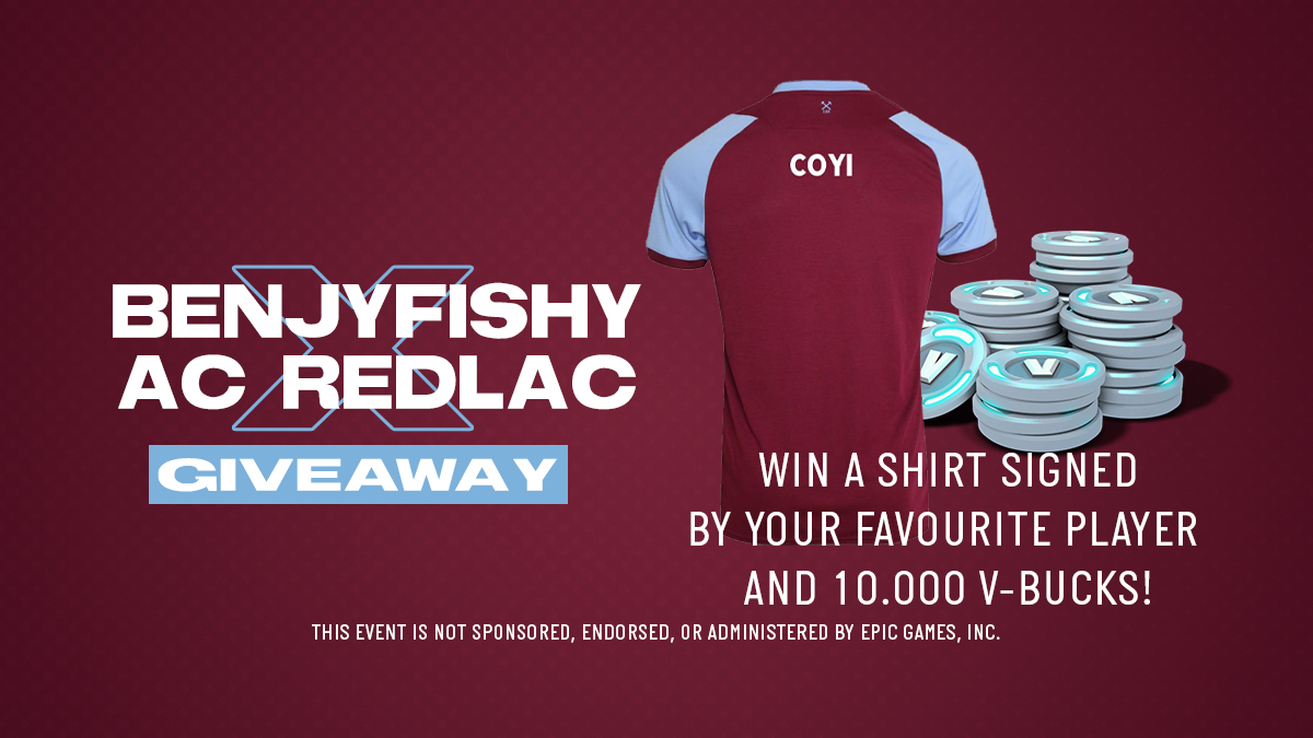 HUGE GIVEAWAY! 👀   Celebrating our stream with @BenjyFishy, to have the chance to win a signed @WestHam shirt + 10,000 V-Bucks (in gift cards)…   1️⃣ Follow @WestHamEsports, @benjyfishy & @AC_RedLac 2️⃣ RT this tweet   Winner announced 3pm UK time 26 February 2021! 🤞
