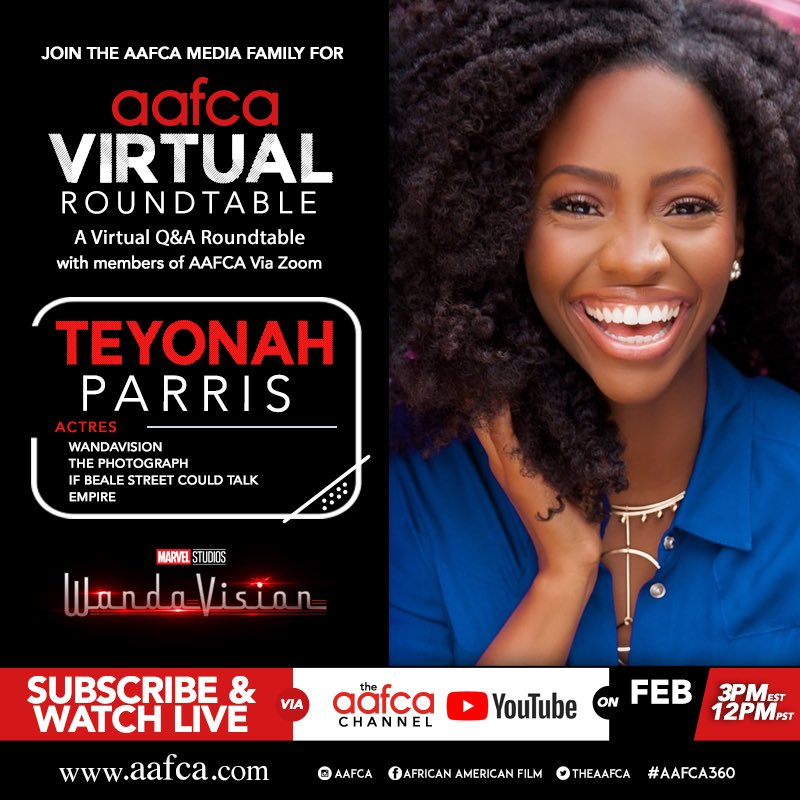 Be sure to tune in at 3PM EST for our latest  #AAFCA virtual roundtable with @TeyonahParris about her role as Monica Rambeau on the @disneyplus series @wandavision  #WandaVision #MonicaRambeau