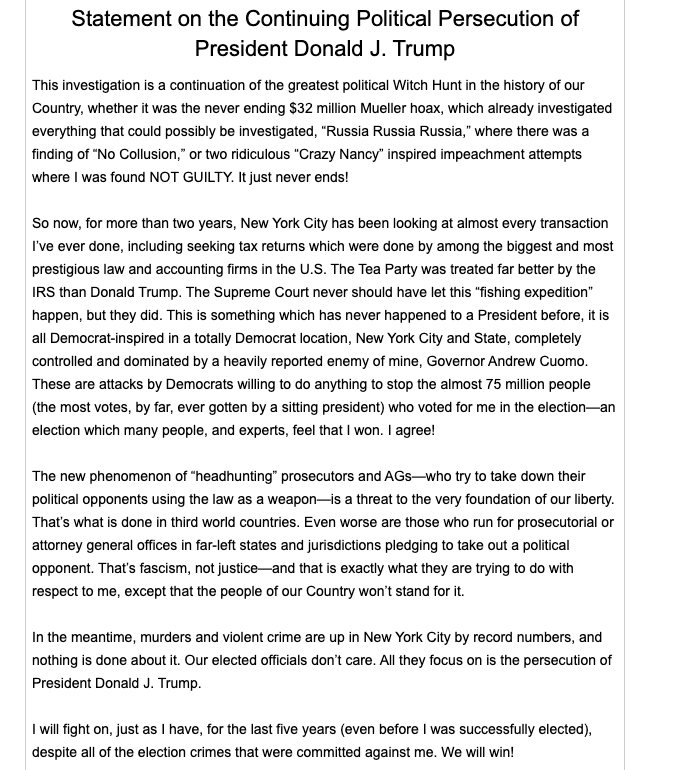 A statement from Donald Trump.