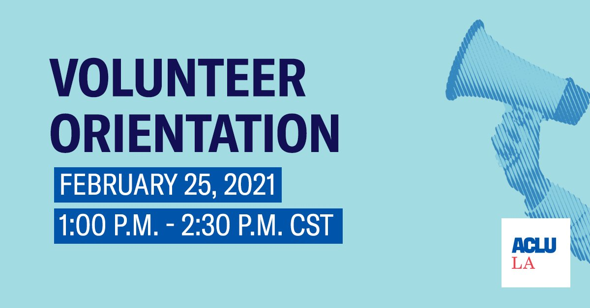 Ready to be on the frontlines of the fight for justice and fairness in Louisiana? Join our volunteer orientation this Thursday 2/25 and learn about how to get involved in our work to defend the civil rights and civil liberties of every Louisianian. RSVP >>