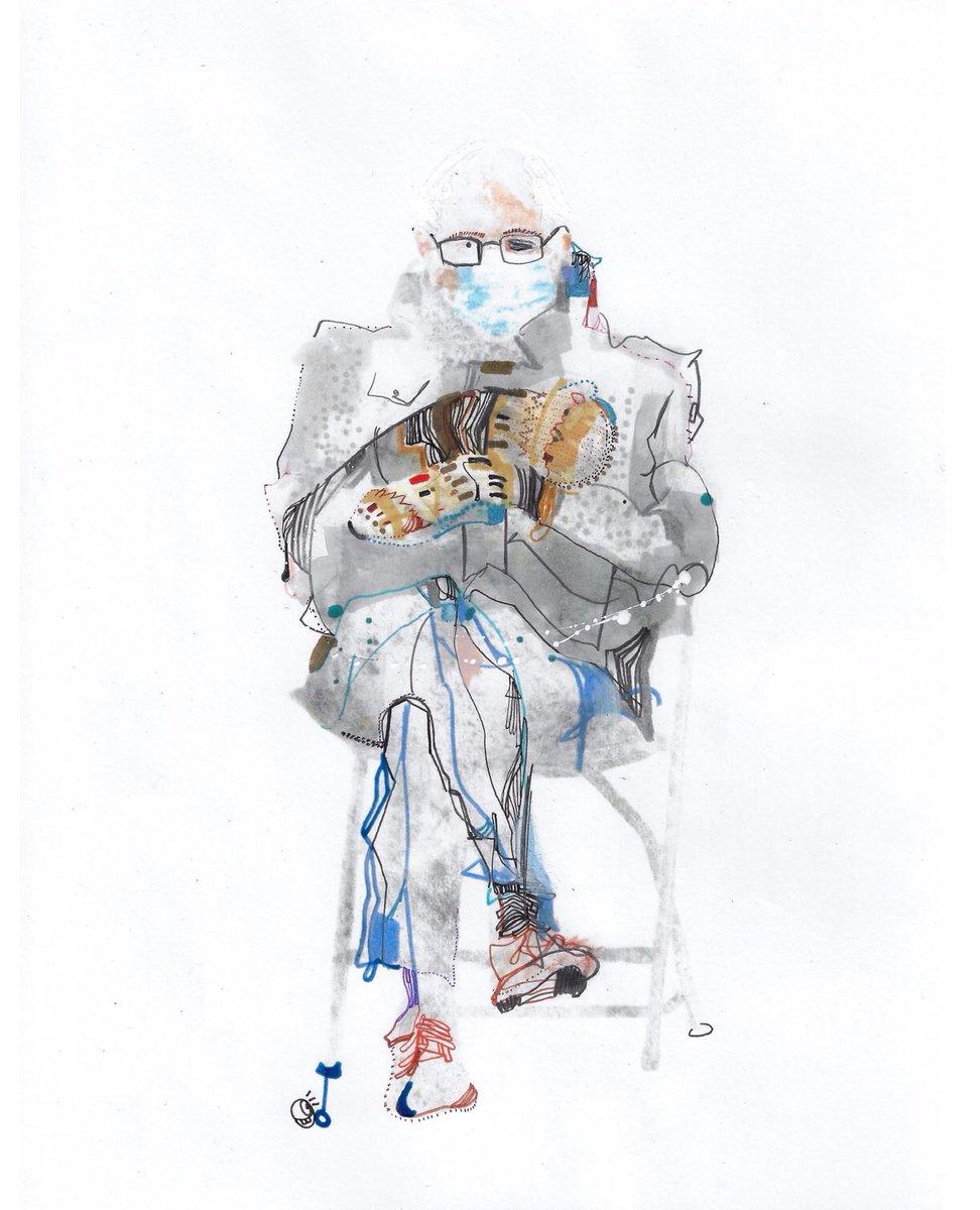 Bernie x mittens #bernie #BernieSanders #Berniememe #berniesandersiseverywhere #berniesandersart #bernieart #artworks #ArtistOnTwitter #artistsontwitter #bernie_sanders #viralart #Trending #NYC #CountdownToMars #fanart #painting