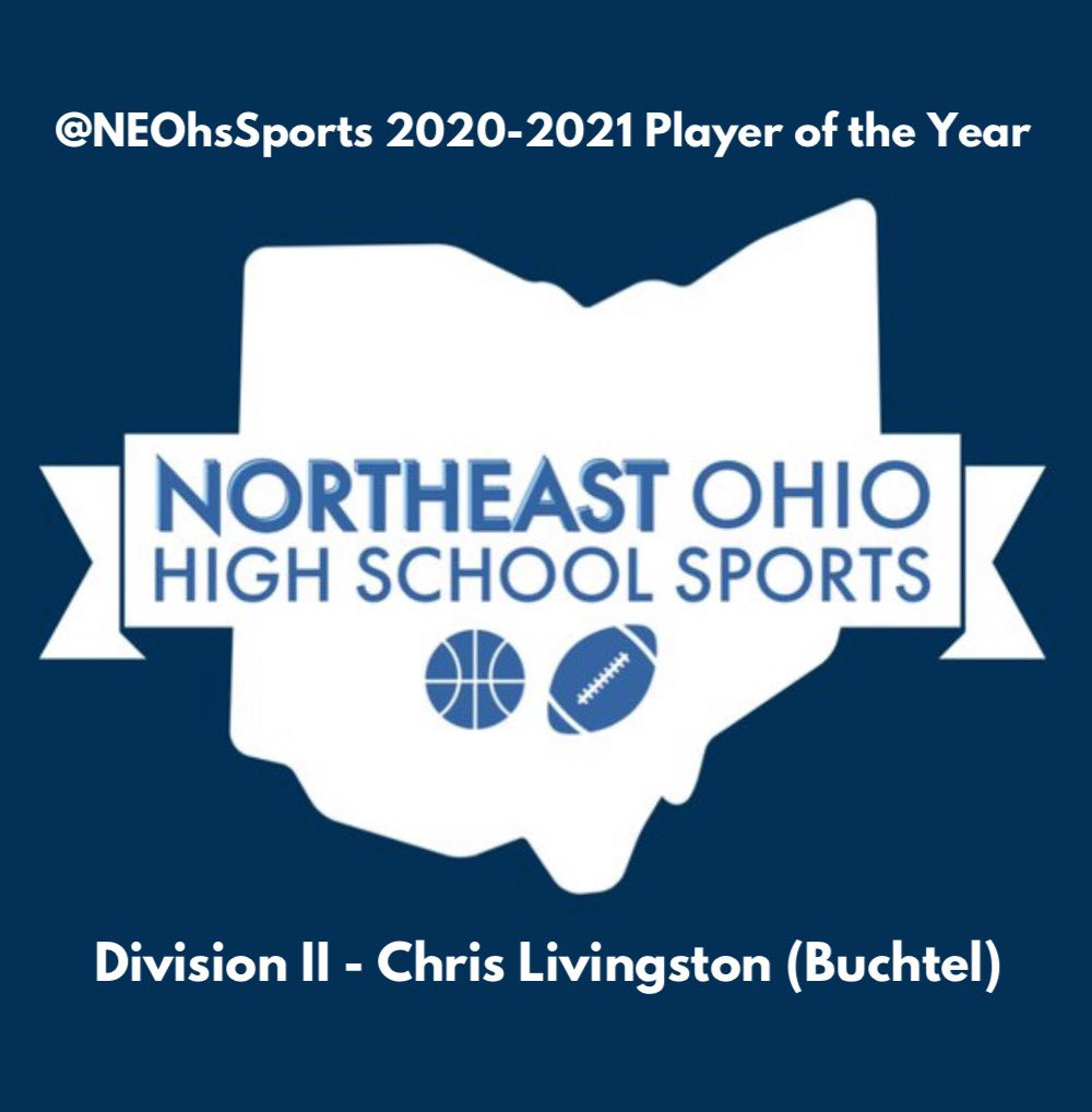 "Division II Player of the Year🏆   Buchtel junior Chris Livingston averaged 32.0 points, 15.8 rebounds, 5.8 assists, 4.8 steals, and 4.1 blocks per game this season, leading Buchtel to a 14-3 record.   Congratulations to Chris, our D-2 ""Player of the Year"" for NEO!"