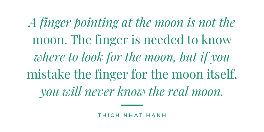 #MondayMantra What's your finger and what's your moon? Knowing the difference between your distraction and your ultimate goal is the first time to rerouting. Take the time to slow down and reroute. You won't regret it.