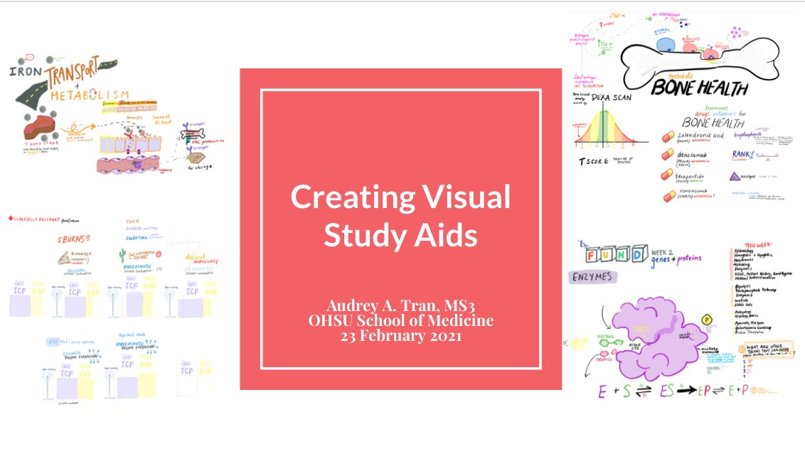Hi #MedTwitter! Tomorrow 2/23 at 5:30 PST, I am giving a virtual talk with the @OHSU Library about how to incorporate visuals in our study aids w/ a live workshop. Definitely inspired by the work shared here -- would love to hear your tips/tricks if you also teach by drawing!