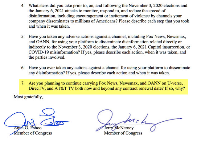 Two Democratic members of Congress are pressuring the CEOs of the countrys major TV providers to essentially purge the news networks these Members dont like, on the basis of the alleged danger posed by misinformation and conspiracy theories eshoo.house.gov/sites/eshoo.ho…