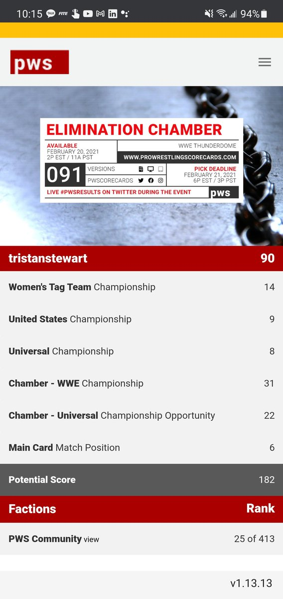 the ppvs aren't always great, but playing along with pro wrestling score sheets keeps things interesting.  #pwsresults #pws @PWScorecards #WWEChamber #wwe #eliminationchamber