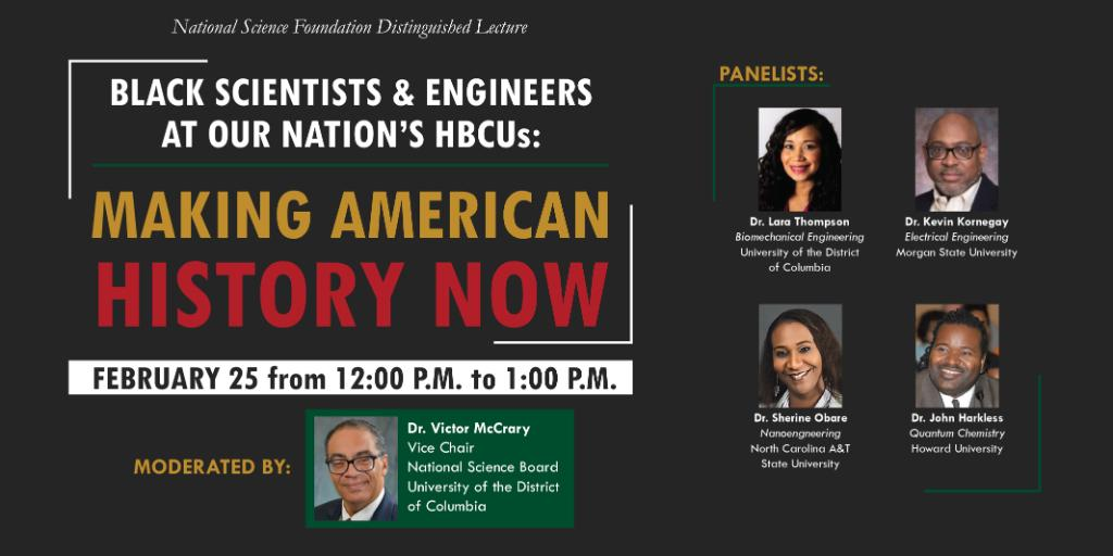 Join us and our panel of preeminent African American #HBCU researchers as they share some of their career challenges and triumphs and discuss the importance of diversity in STEM education.   When? This Thursday, Feb 25 at 12 pm ET. Register here: